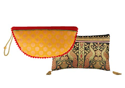Handmade Antique Silk Clutch Wristlet Indian Made Purse Organza Bag with Ethnic design Wedding Gift Pouch (Set of two)