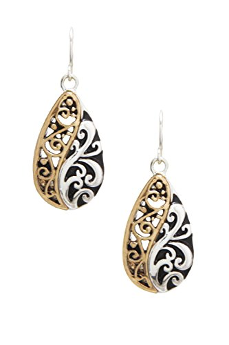 Small 2 Tone Embossed Nouveau Style Puffy Silver-Tone Gold-Tone Filigree Look Teardrop Earrings 1 -