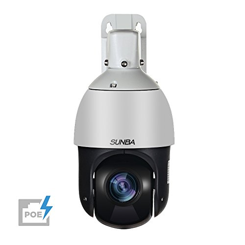 SUNBA PoE+ Mini High Speed IP 1080p PTZ Security Camera, 20X Optical Zoom, Auto-Focus, Outdoor, 328ft Night Vision ()