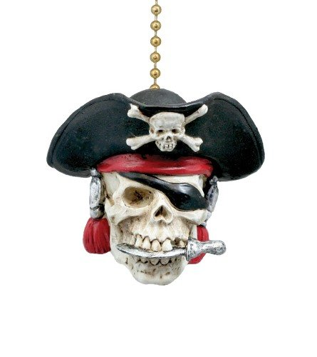 Pirate Skull Captain Ceiling Fan Pull -