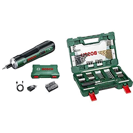 Bosch - Atornillador Push Drive + Bosch V-Line Titanio - Maletín de 91 unidades