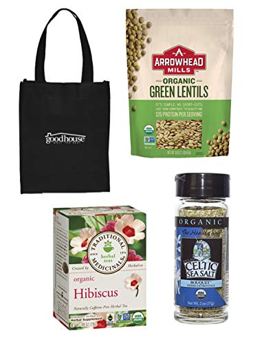 Organic Hibiscus Tea, Lentils and Celtic Sea Salt - Food Bundle to Naturally Regulate Blood Pressure, Cholestrol and Improve Kidney Health - with Gift Tote Bag - 4 Items