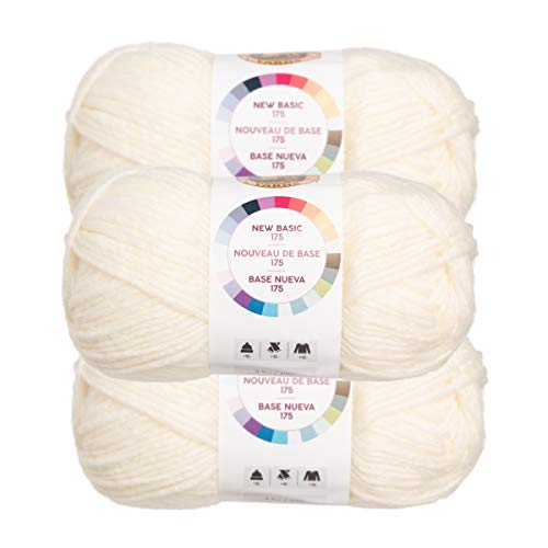 - Lion Brand (3 Pack) New Basic Acrylic & Wool Soft Cream White Yarn for Knitting Crocheting Medium #4