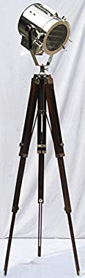 Marine Collectible Designer Maritime Spot Searchlight with Wooden tripod Studio Floor Lamp