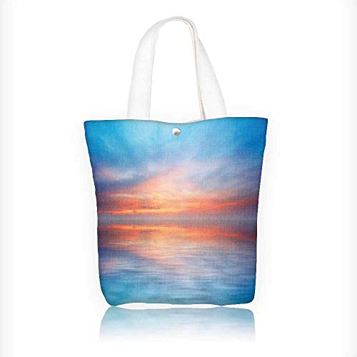 (Canvas Tote Bag abstract ocean and sunset background Hanbag Women Shoulder Bag Fashion Tote Bag W11xH11xD3 INCH)