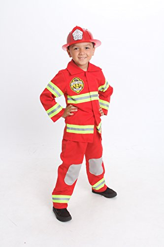 Monika Fashion world Fire Fighter Costume Light up Kids W/Hat Fire Man S M 4-6 -8(S 4-5)