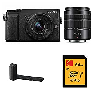Panasonic Lumix DMC-GX85WK Mirrorless Camera Two Lens (12-32mm & 45-150mm Lenses) Kit with DMW-HGR2 Grip and 64GB SD Card Bundle