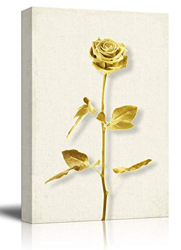 wall26 - Canvas Wall Art - 3D Effect Gold Rose on Rustic Texture Background - Giclee Print Gallery Wrap Modern Home Decor Ready to Hang - 12x18 inches ()