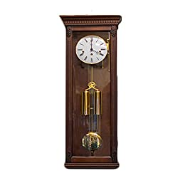 Hermle Two Weight Westminster Chime Wall Clock in Mahogany Finish