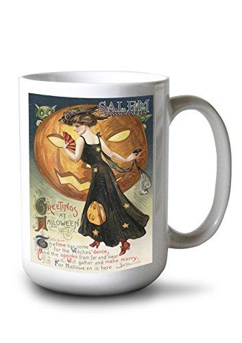 Salem, Massachusetts - Halloween Greeting - Witch Dancing and Pumpkin - Vintage Artwork (15oz White Ceramic Mug)