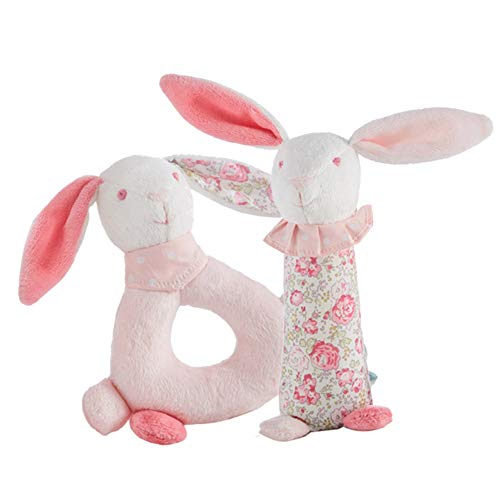 (Manon des Pres Baby Handbell Rattle Toy Cute Bunny Rabbit Stuffed Animal for Kid New Born Infant Boys Girls Toddler Soft Ring Rattle Animal Toy)