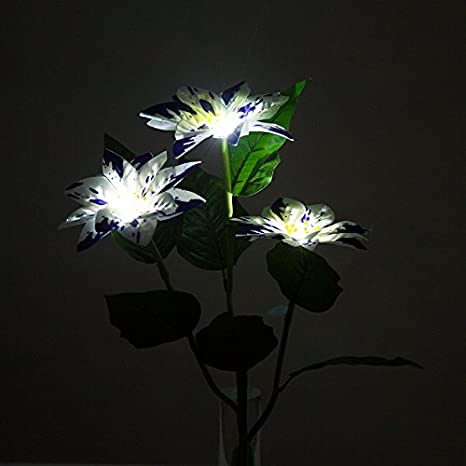 Blue Solar Powered LED Christmas Flower White Light Energy Saving LED Lamp Solar Garden Stake Light for Outdoor Yard Lawn Balcony Light Up in The Dark Winterworm