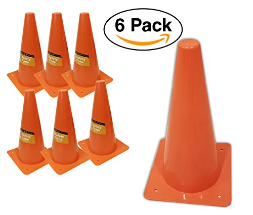6 Pack – Orange Safety Cones, For Sports or Traffic, Durable. ()