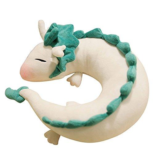 Dragon Plush Doll Toy Pillow - Anime Cute White Dragon U-Shape Neck Pillow 13.8 inches