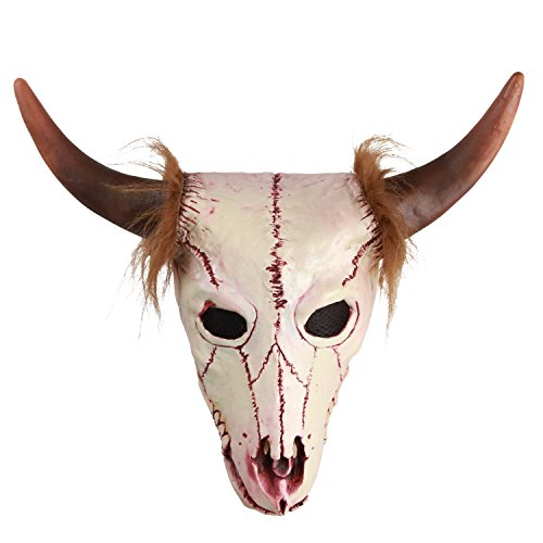 molezu Goat Head Skull Mask with Horns, Cave Demon Skeleton Blood Goat Sucker Zombie Cannibal Mask Latex Adult Halloween Costume