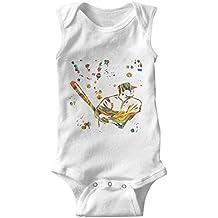 epoyseretrtgty Sleeveless Baby Baseball Player Watercolor Cotton Bodysuit