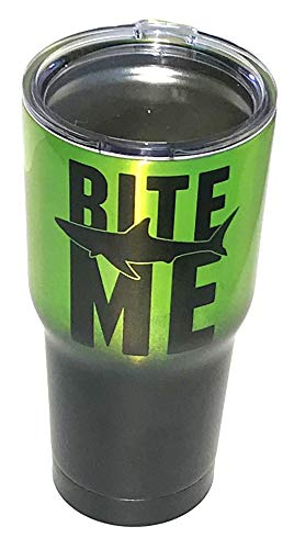 - Bite Me with Shark | Matte Black and Metallic Neon Green | Stainless Steel Insulated Travel Tumbler Cup | Funny for Men