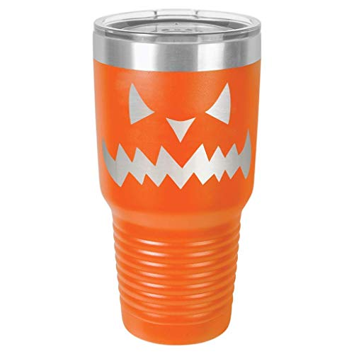 Jack O Lantern Halloween Stainless Steel Tumbler Custom Laser Engraved with a Clear Lid including Choices of 12, 20, 30 ounce, Color, Font, Spill Proof Slide Lid, Straw and Your -