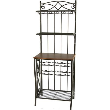 Metal Bakers Rack with Wine Storage, Antique Brass Finish (Antique Racks Bakers)