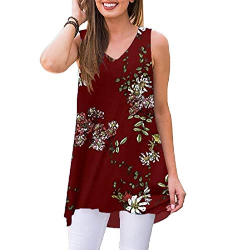 Top Rayon Wrap Sleeveless - Akihoo Women's Shirts Casual Blouse Short Sleeve Hi Low Tunic Tops Solid Color Fit Flare Red Print M