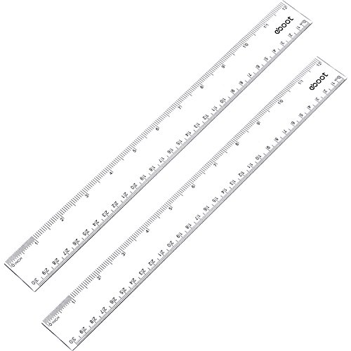 eBoot 12 Inches Plastic Ruler Straight Ruler Plastic Measuring Tool for Student School Office, Clear, 2 Pack (Clear Plastic Ruler)