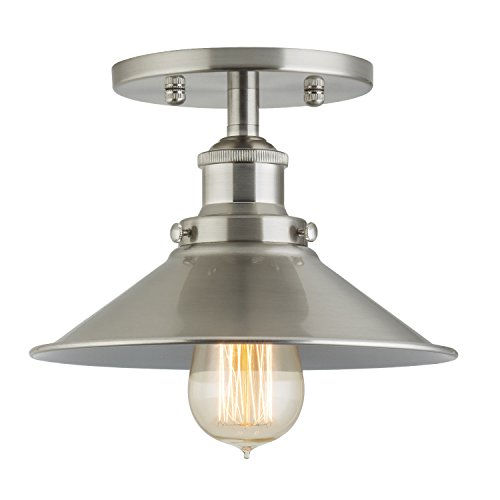 Linea di Liara Andante Industrial Factory Semi Flushmount Ceiling Lamp - Brushed Nickel One-Light Fixture with Metal Shade Exposed Hardware - 5-Inch Canopy - Downlight Modern Vintage LL-C407-BN