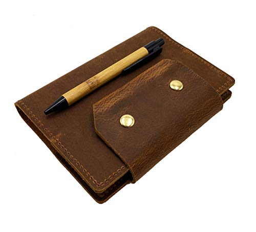 Genuine Leather Notebook Refillable A6 Size Snap Closure Notebook 100gsm Blank Paper 100 Sheets 200 Pages, Vintage Brown Pocket Journal with a Bamboo Ballpoint Pen for Men & Women
