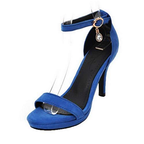 Sandales Couleur Haut Bleu Femme Talon GMBLB015665 d'orteil Unie Ouverture Boucle AgooLar à qzgFa8