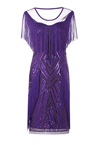Metme Women's 1920s Gatsby Flapper Dress Retro Theme Fringe Dresses Wedding Evening Party ()