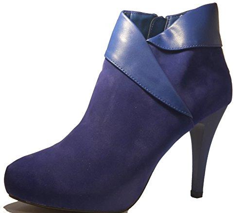 3-W-HohenlimburgElegante Stiletto Pumps High Heels Stiefel in Rot Oder Tief - Blau mit Reißverschluß in Extravaganter Optik, Damenschuhe, Sti002, Schuh für Damen, Elegante Stiefel für das Ganze Jahr.  Azul