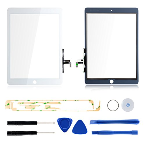 Tongyin Digitizer Replacement Parts for Ipad air Generation A1474 A1475 A1476(White), Touch Panel Screen Glass + 7 Pieces Tools + Professional Adhesive