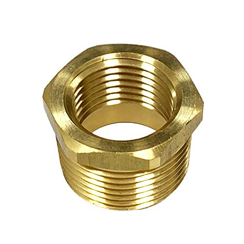 NIGO Brass Pipe Fitting, Hex Bushing (1 Pack, 3/4