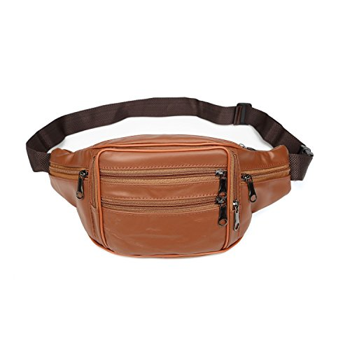 iLeather Cowhide Leather Large Size 7 Pockets Fanny Pack, Waist Pack -Brown