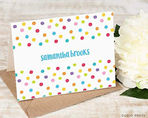 DOTS FOLDED - Personalized FOLDED Colorful Card Stationery/Stationary Notecard Set