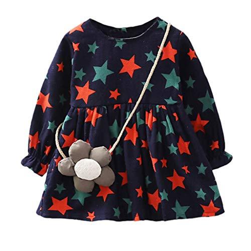 Qpika Baby Girls Long Sleeves O-Neck Stars Print Princess Dress+Cartoon Shoulder Bag Set