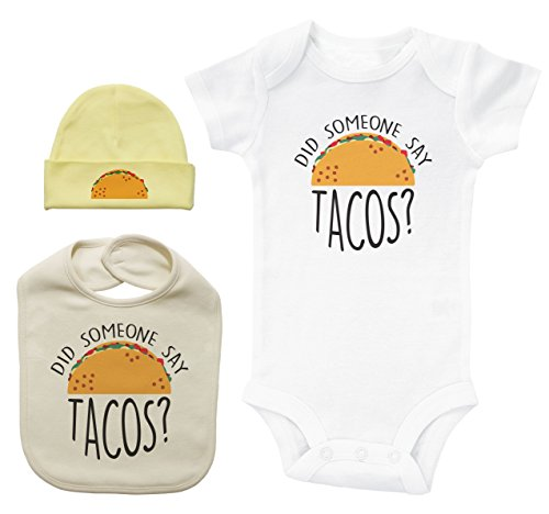 Onesie Food (Baffle Food Theme Baby Shower Gift Bundle/Tacos?/Funny Baby Onesie Bib & Hat Set (3-6M))