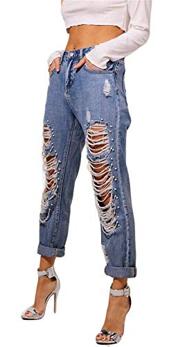 Casual De Exterior Destroyed Beaned Bodycon Pantalones Washed Woemns Distressed Denim Ripped Blau Jeans Mujeres Casuales Beaded qxSvqwYH