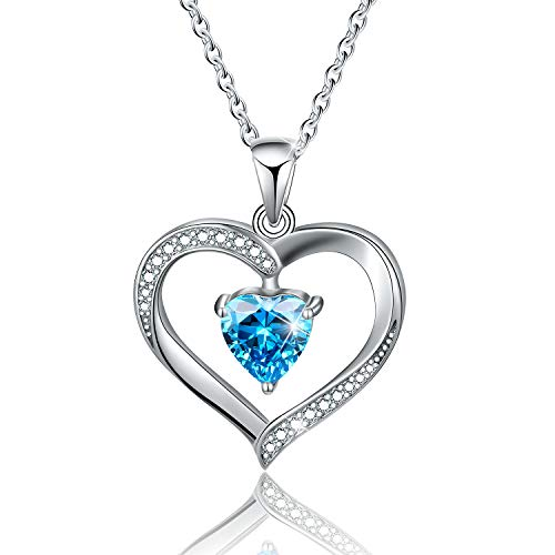 Esberry✦18K Gold Plated 925 Sterling Silver Necklace Pendant 5A Cubic Zirconia CZ Love Heart Shape Pendant with Necklaces for Women (Blue)