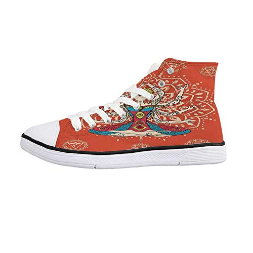 - Yoga Decor Comfortable High Top Canvas ShoesYoga Technique with Ethnic Costume Insignia Zen Discipline Your Body and Mind Artprint for Women Girls,US 11