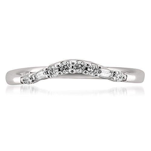 14k White Gold Baguette & Round Diamond Curved Wedding Band Ring (1/7 cttw, H-I, SI2-I1), Size 7 (Ring Diamond Baguette Band Round)