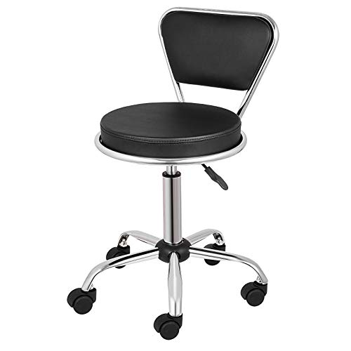 Happybuy Salon Nail Pedicure Stool Pneumatic Pedicure Chair Dayton Pedicure Stool Adjustable Height Perfect for Nail Salon Pedicure and SPA (Adjustable Height: 19″-25″, Black)