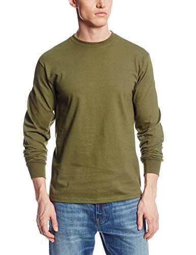 MJ Soffe Men's Long-Sleeve Cotton T-Shirt, Olive Green, ()