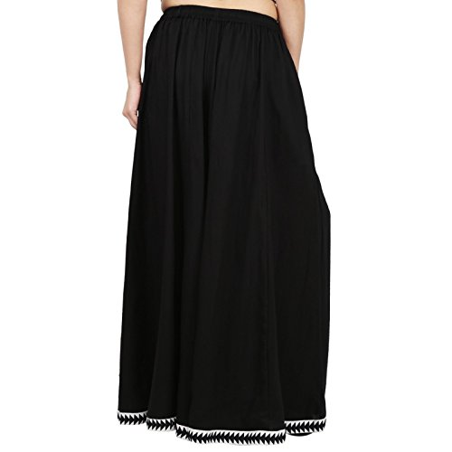 Black Color Rayon Extra Wide Leg Pant, Divider Palazzo Pant, Harem, Comfy Skirt