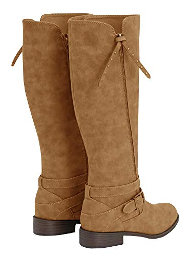Wide Boots Riding High Buckle yellow Womens Knee Calf Z Combat Strappy Boots Ermonn Winter Chunky 475aRqxBaw
