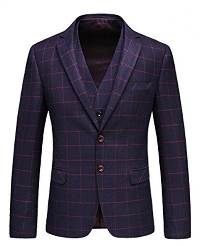 Dos Púrpura Y Cuadros Chaqueta Pantalón Botones A Oficial Hombres Piezas Chaleco Mogu De 3 Traje FIwq6