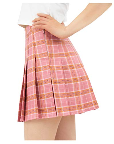 DAZCOS US Size Plaid Skirt High Waist Japan School Uniform Skirts for Women