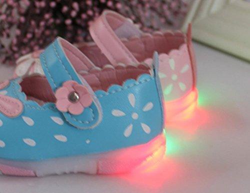 Igemy 1Paar Baby Kinder Kleinkind Sonnenblume Mädchen leuchtende Beleuchtung Soft-Soled Prinzessin Schuhe Blau