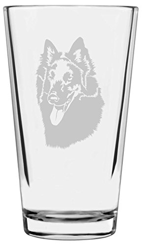 Belgian Sheepdog Dog Themed Etched All Purpose 16oz Libbey Pint Glass