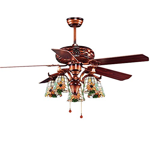 Andersonlight Retro Arts Indoor Ceiling Fan 5 Tiffany Stained Glass Handmade Lampshade 5 Walnut Wooden Blades Mute Energy Saving Chandelier Motor Red Bronze Spray Paint 52 Inch HJJ0162 (Art Glass Stained Glass Chandelier)