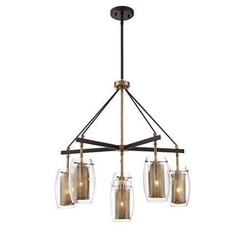 Brass 1 Light Chandelier (Savoy House 1-9060-6-95 Dunbar 6-Light Chandelier in Warm Brass w/ Bronze accents)